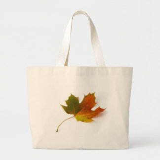 Single Coloured Maple Leaf On White Background Large Tote Bag