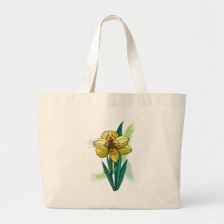 Single Daffodil Flower Canvas Bags