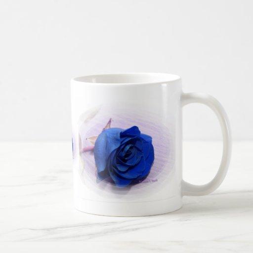Single Dark Blue Rose, pale background Coffee Mugs