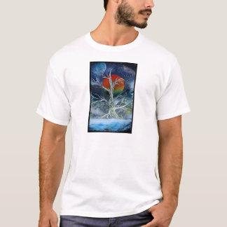 Single Dead Tree Foggy Night Orange Moon T-Shirt