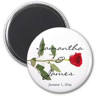 Single Elegant Long Stem Red Rose Magnet