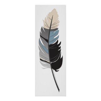 Single Feather  - Black, Gray, Blue and Cream Poster