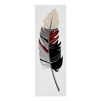 Single Feather  - Black, Gray, Maroon & Cream Poster