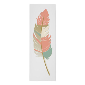 Single Feather - Mint Green Cream and Coral Colors Poster