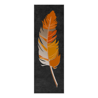 Single Feather  - Rustic Orange on Chalkboard Poster