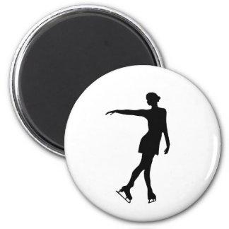 Single Figure Skater Black & White Magnet