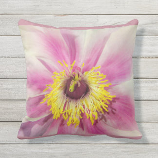 Single Flower Floral Design  Blush Pink Background Outdoor Pillow