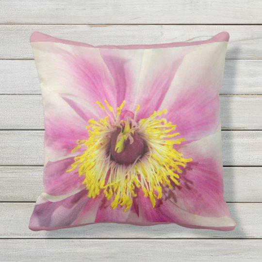 Single Flower Floral Design  Blush Pink Background Outdoor Pillow