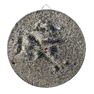 Single footprint of seagull bird on beach sand dartboard