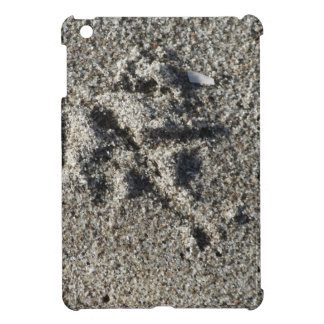 Single footprint of seagull bird on beach sand iPad mini cases