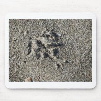 Single footprint of seagull bird on beach sand mouse pad