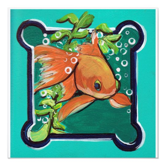 Single Goldfish in water with grass Card