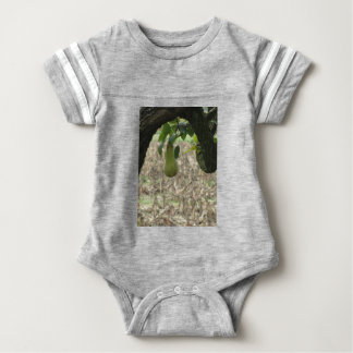 Single green pear hanging on the tree baby bodysuit