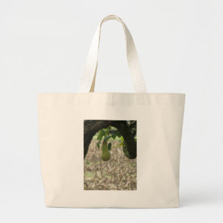 Single green pear hanging on the tree large tote bag