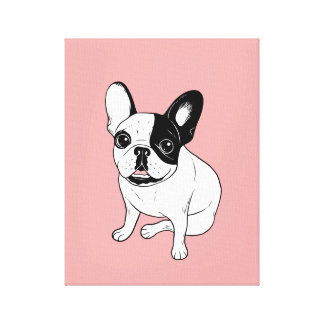 Single Hooded Brindle Pied Frenchie Canvas Print