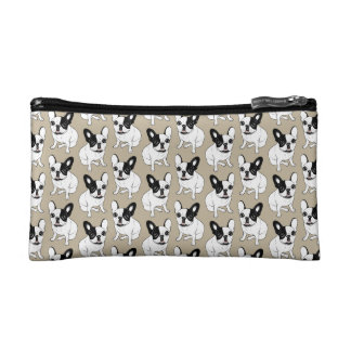 Single Hooded Brindle Pied Frenchie Cosmetic Bag
