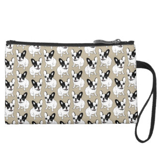 Single Hooded Brindle Pied Frenchie Suede Wristlet