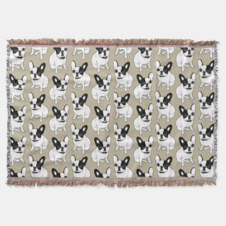 Single Hooded Brindle Pied Frenchie Throw Blanket