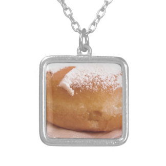 Single Krapfen ( italian doughnut ) Silver Plated Necklace