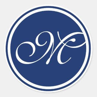 Single Letter Monogram - Blue Round Sticker