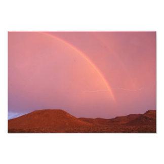 Single Lightning Bolt over Rainbow Photograph