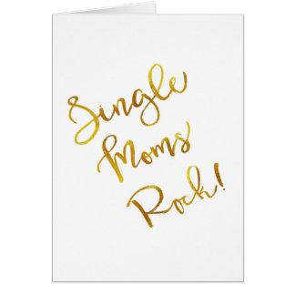 Single Moms Rock Gold Faux Foil Metallic Quote Card