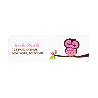 Single Owl Return Address Labels
