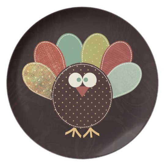 Single Patchwork Thanksgiving Turkey Plate