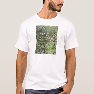 Single peach tree in blossom. Tuscany, Italy T-Shirt