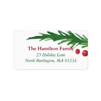 Single  Pine & Berries  | 2017 Christmas Address Label