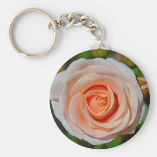 Single pink rose basic round button keychain