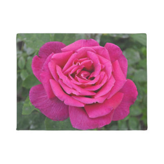 Single pink rose doormat
