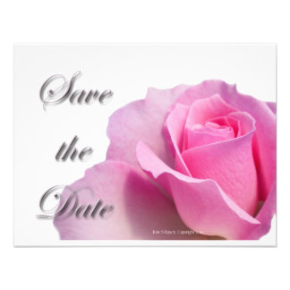 Single Pink Rose Save the Date Personalized Announcement