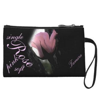 Single Pink Rose Soft Personalized Wristlet Purse