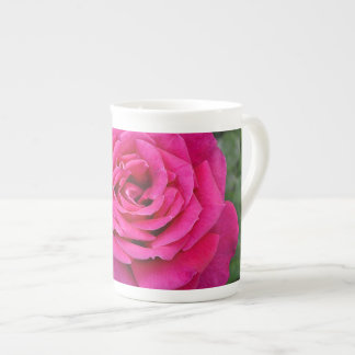 Single pink rose tea cup