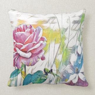 single pink rose throw pillow