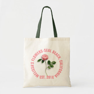 Single Pink Rose With Stem Custom Text Budget Tote Bag