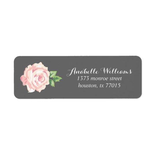 Single Pink Vintage Rose Return Address Label