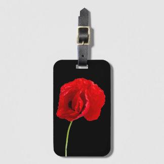 Single poppy luggage tag