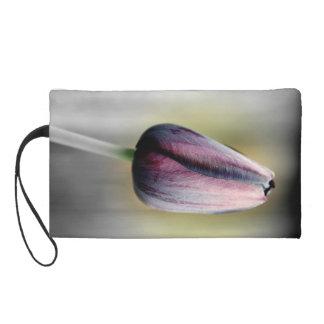 Single Purple Tulip Wristlet Clutch bag
