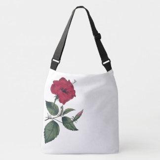 Single Red Botanical Hibiscus Flower Crossbody Bag