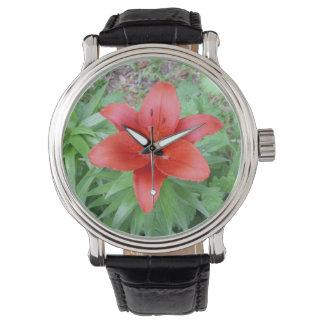 Single Red Flower Watch