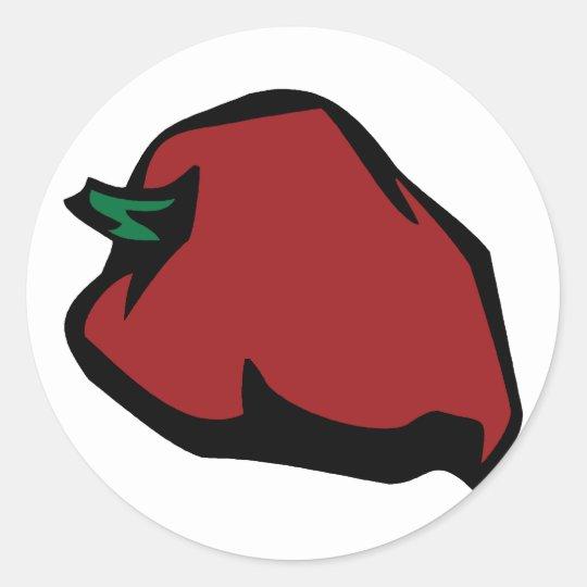 Single Red Habanero Graphic Classic Round Sticker
