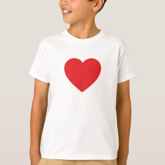 Single Red Heart on a Kids Tee Shirt