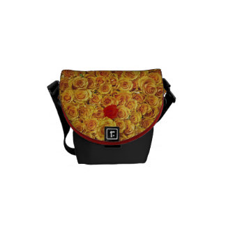 Single Red in Yellow Bed Roses Courier Bag