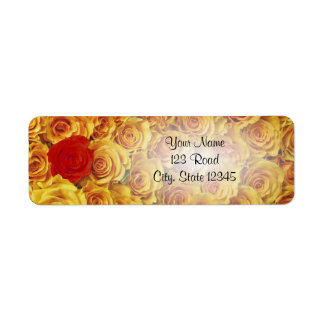Single Red in Yellow Bed Roses Return Address Label