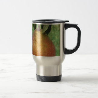 Single red pear hanging on the tree travel mug