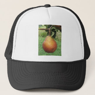 Single red pear hanging on the tree trucker hat
