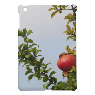 Single red pomegranate fruit on the tree in leaves iPad mini covers