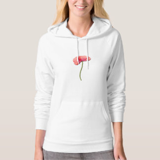 Single red poppy flower hoodie